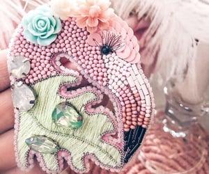 beads, flamingo, and flamingos image