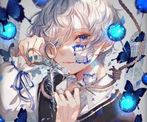 anime, bandage, and blue eyes image