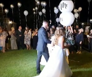 balloon, bride, and groom image