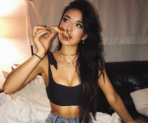 food, girls, and pizza image