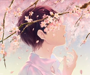 anime, branch, and flowers image