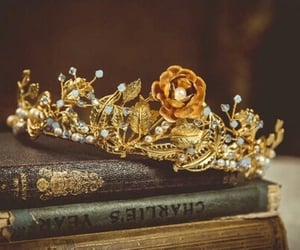 books, tiara, and flower crown image