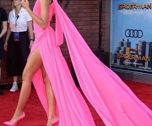 dress, hot pink, and red carpet fashion image