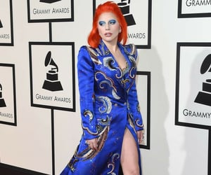blue dress, Lady gaga, and red hair image