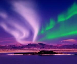 landscape, nordic, and northern lights image