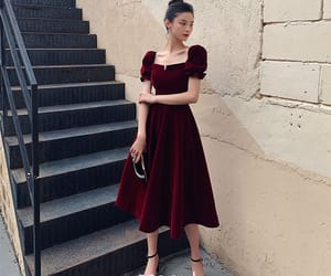 girl, puffy sleeves, and vintage dress image