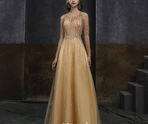 evening dress, gold dress, and long dress image