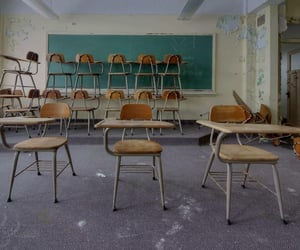 abandoned, class, and classroom image