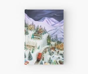 art print, notebooks, and santa image