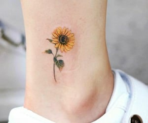 sunflower, tattoo, and blossom image