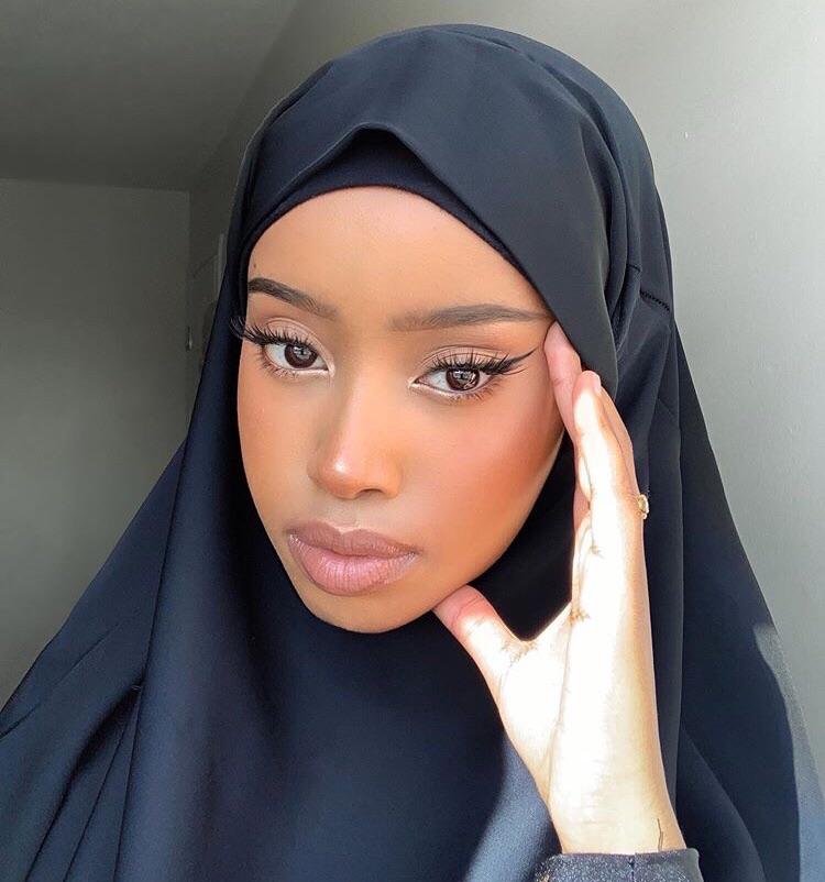 black woman, hijab, and makeup image