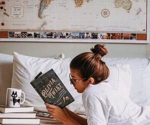bed, bookworm, and bun image