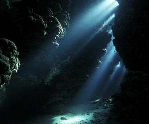 ocean, blue, and cave image