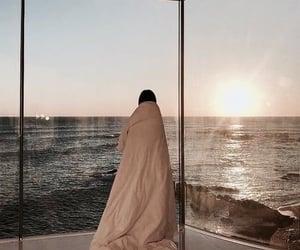 girl, ocean, and sunrise image