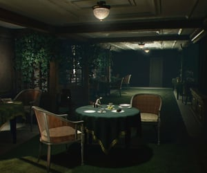 dark, deserted, and dining room image