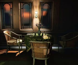 brown, dining room, and chairs image