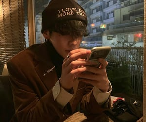 asian, phone, and beanie image