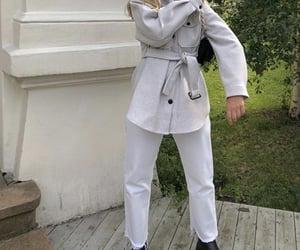black boots, grey jacket, and fashion style mode image