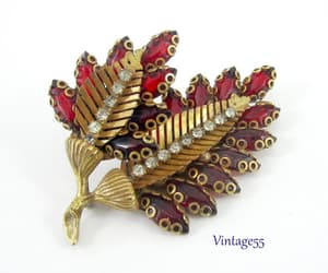 leaf, red, and vintage brooch image