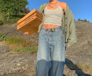 90s, cardigan, and jeans image