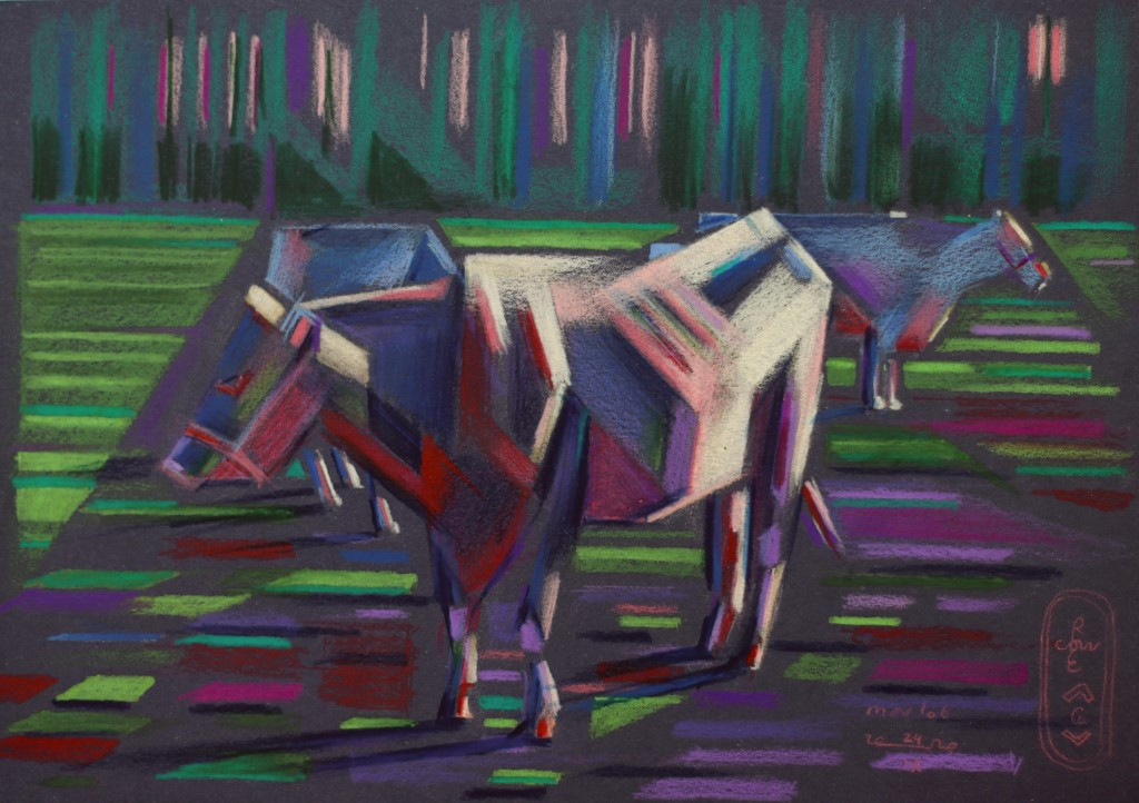 abstract, artiste, and cows image
