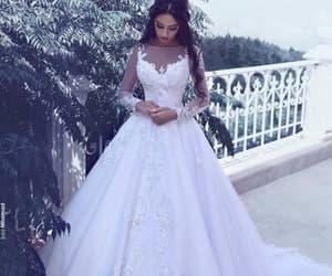 lace wedding dress, robe de marriage, and a line wedding dresses image