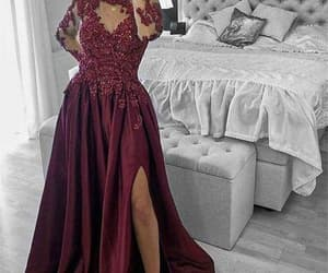 cheap prom dresses, beaded prom dress, and burgundy prom dress image