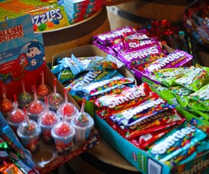 candy, childhood, and skittles image