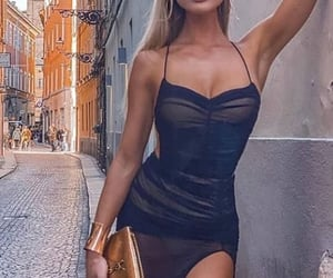 black dress, blonde, and fashion image
