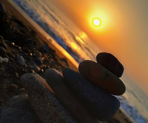 beach, orange, and stones image