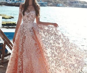 prom gown, pink prom dresses, and sparkly prom dress image