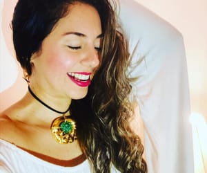 choker, curly hair, and gold image