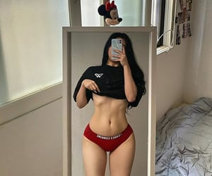 bedroom, mirror, and red image