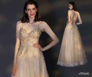 party dress, tulle dress, and spaghetti straps image