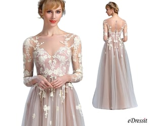 long sleeves, formal gown, and lace evening dress image