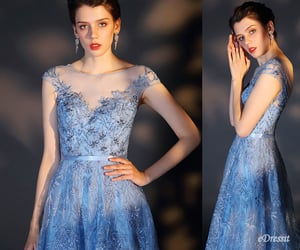 party dress, blue evening dress, and beading prom gown image