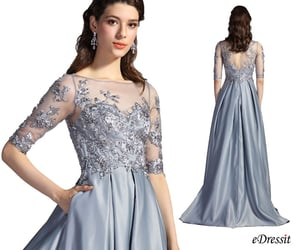 half sleeves, formal prom dress, and party wear image