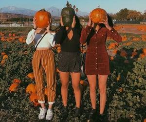girl, autumn, and orange image