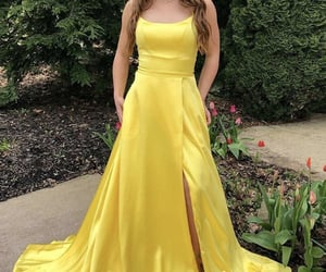 evening gown, girl, and satin image