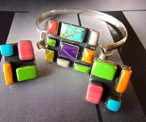 etsy, multi color, and sterling bracelet image