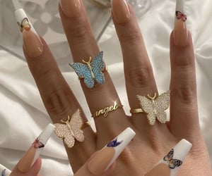 butterfly, nails, and rings image