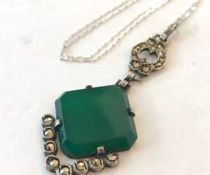 sterling silver, green stone pendant, and bridal jewelry image