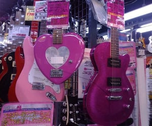 aesthetic, pink, and guitar image