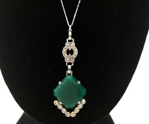 sterling silver, green stone pendant, and antique jewelry image