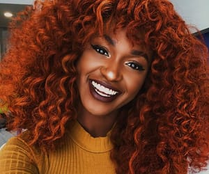 curly hair, natural hair, and orange hair image