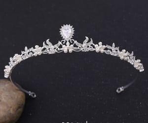 pearl, bridal hair accessories, and silver tiara image