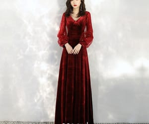 evening dress, long dress, and puffy sleeves image