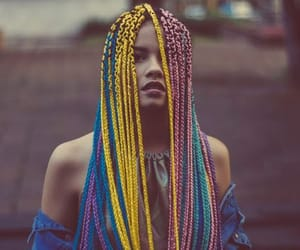 blue hair, braids, and hairstyle image