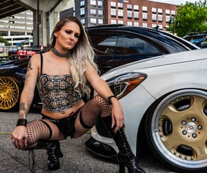 blonde, boots, and cars image