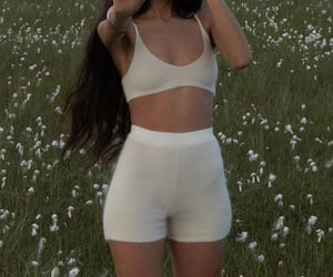 white shorts, everyday look, and white crop top image